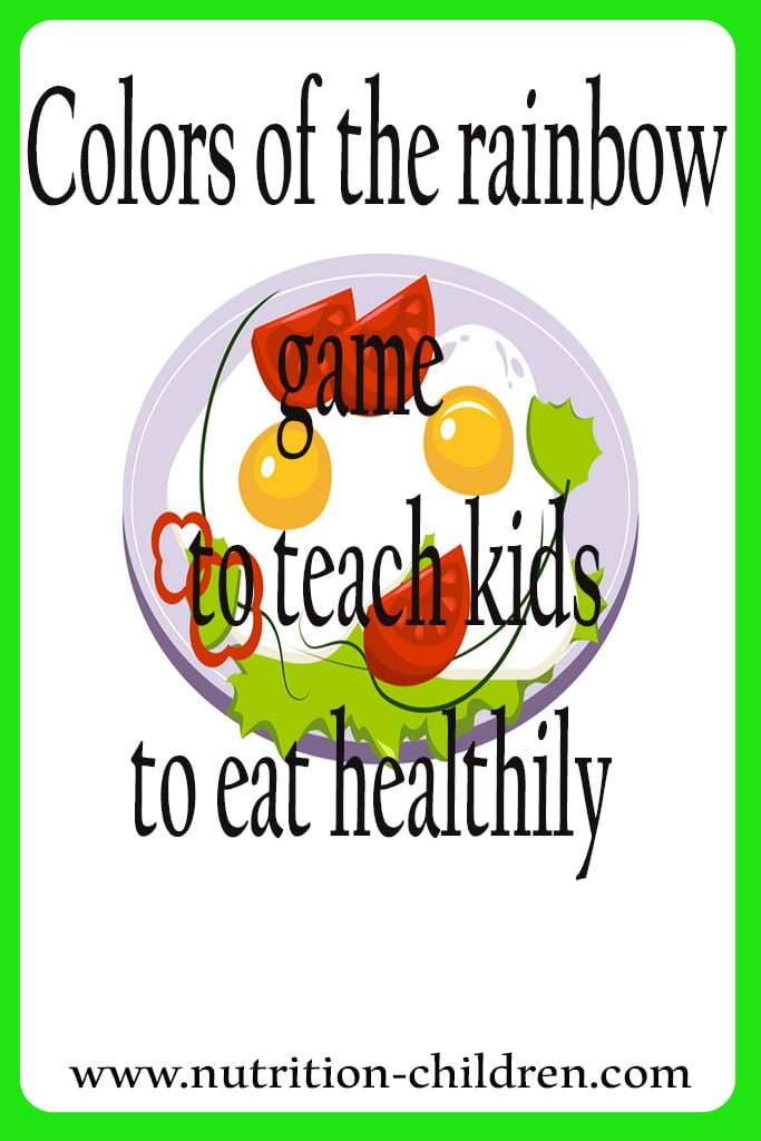 Colors of the rainbow game to teach kids to eat healthy